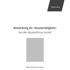 Vorlage / Muster: Deckblatt professionell