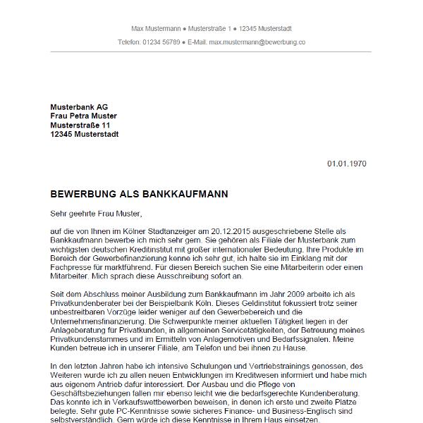 bewerbung muster bank Bewerbung als Bankkauffrau / Bankkaufmann   Bewerbung.co