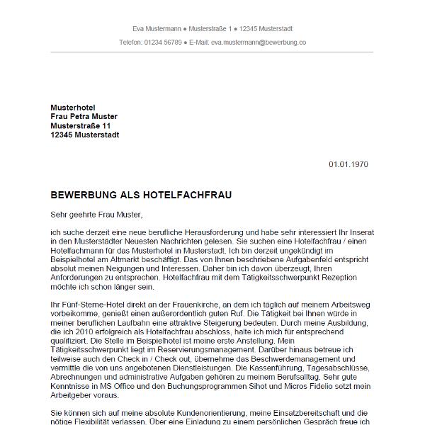 Muster / Vorlage: Bewerbung als Hotelfachfrau / Hotelfachmann