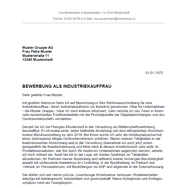 Bewerbung als Industriekauffrau / Industriekaufmann   Bewerbung.co