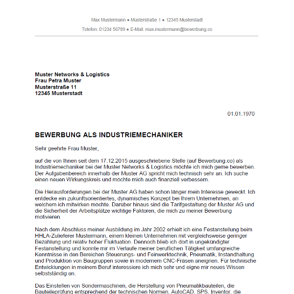 Bewerbung als Industriemechaniker / Industriemechanikerin