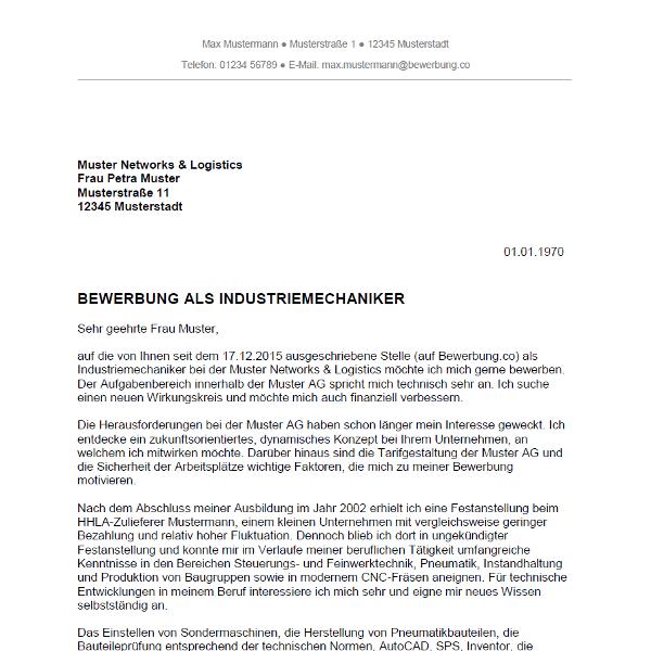 Muster / Vorlage: Bewerbung als Industriemechaniker / Industriemechanikerin