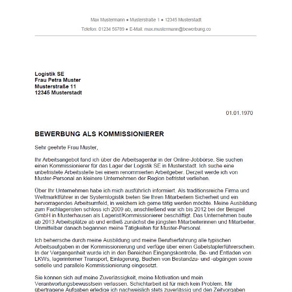 muster vorlage bewerbung als kommissionierer kommissioniererin - Bewerbung Rewe