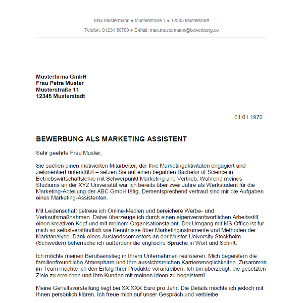 Bewerbung Als Marketing Assistent Marketing Assistentin Bewerbungco