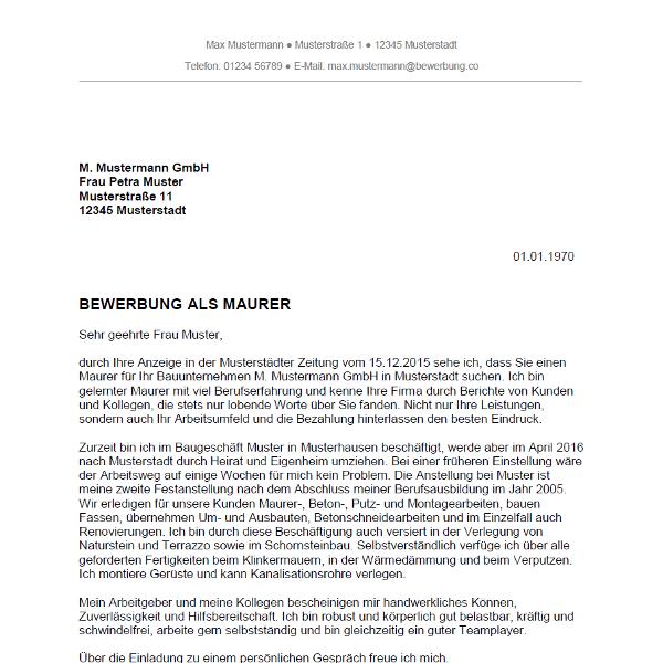 bewerbung gerüstbauer muster Bewerbung als Maurer / Maurerin   Bewerbung.co