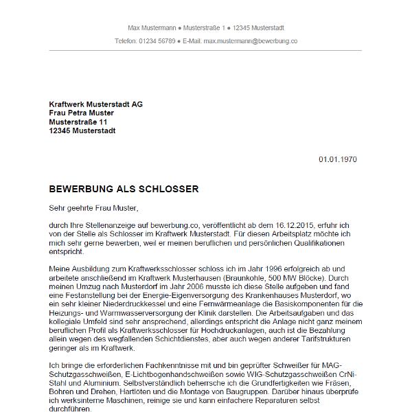 Muster / Vorlage: Bewerbung als Schlosser / Schlosserin