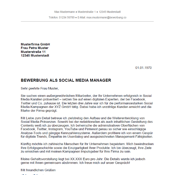 muster vorlage bewerbung als social media manager social media managerin - Bewerbung Fahigkeiten