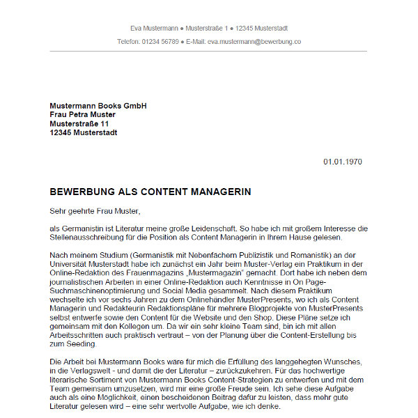 Bewerbung als Content Manager / Content Managerin - Bewerbung.co