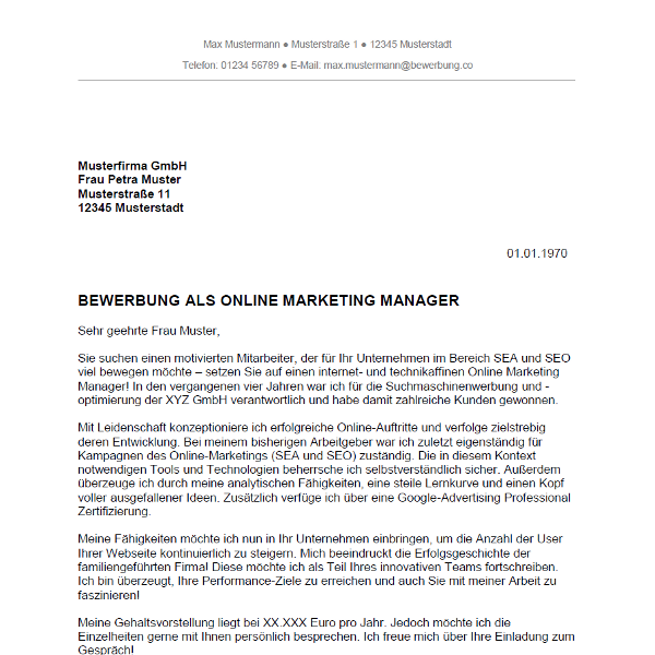 Muster / Vorlage: Bewerbung als Online Marketing Manager / Online Marketing Managerin