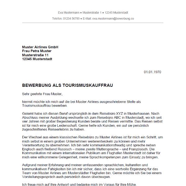 Muster / Vorlage: Bewerbung als Tourismuskauffrau / Tourismuskaufmann
