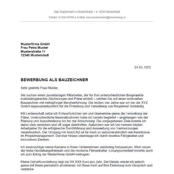 Muster / Vorlage: Bewerbung als Bauzeichner / Bauzeichnerin