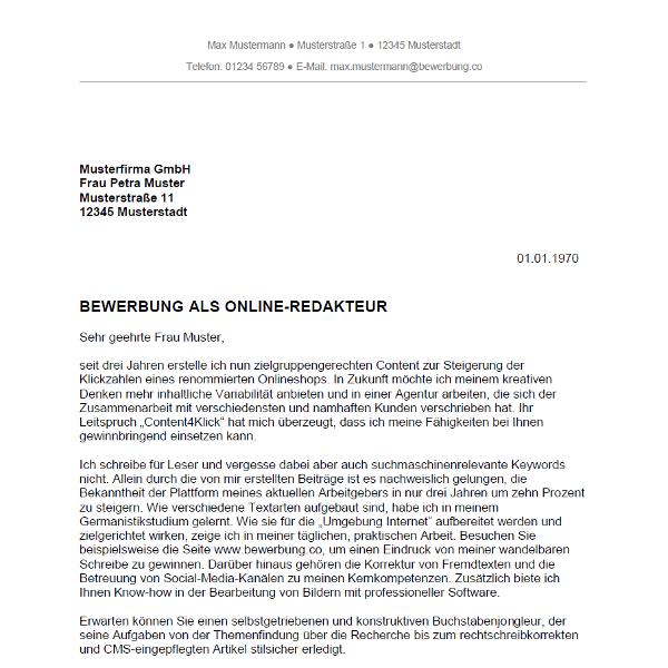 muster vorlage bewerbung als online redakteur online redakteurin - Bewerbung Anschreiben E Mail
