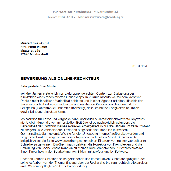 Bewerbung als Online Redakteur / Online Redakteurin   Bewerbung.co