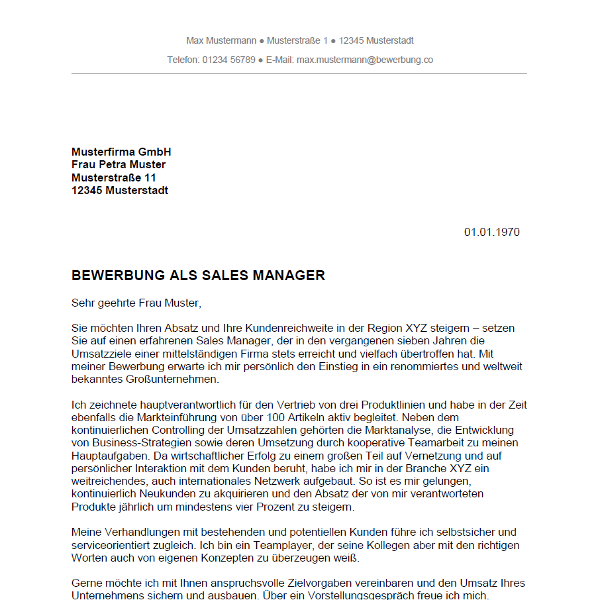 Bewerbung als Sales Manager / Sales Managerin   Bewerbung.co