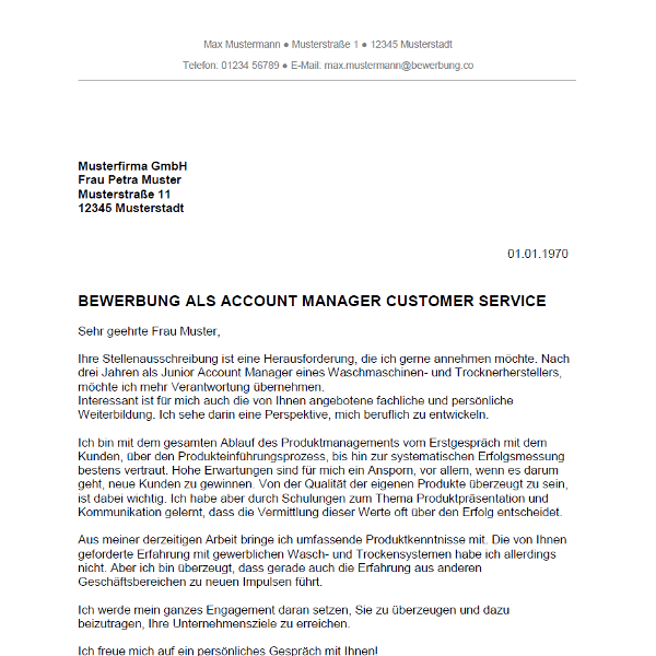 Bewerbung als Account Manager / Account Managerin   Bewerbung.co