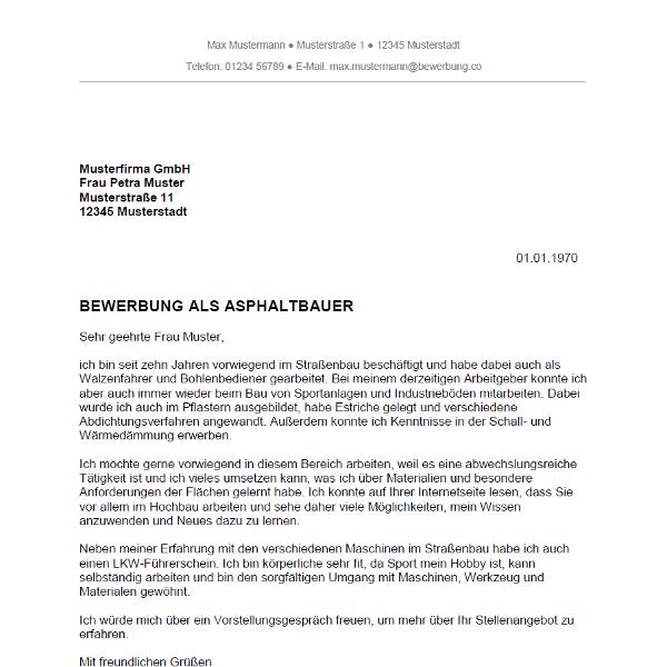Muster / Vorlage: Bewerbung als Asphaltbauer / Asphaltbauerin