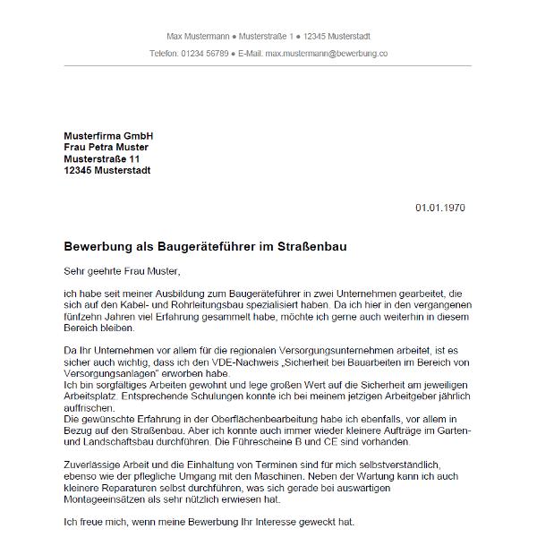 Muster / Vorlage: Bewerbung als Baugeräteführer / Baugeräteführerin