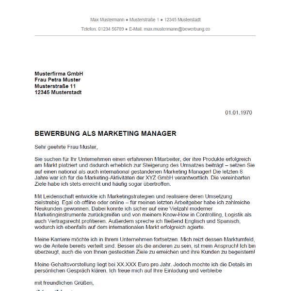 Muster / Vorlage: Bewerbung als Marketing Manager / Marketing Managerin