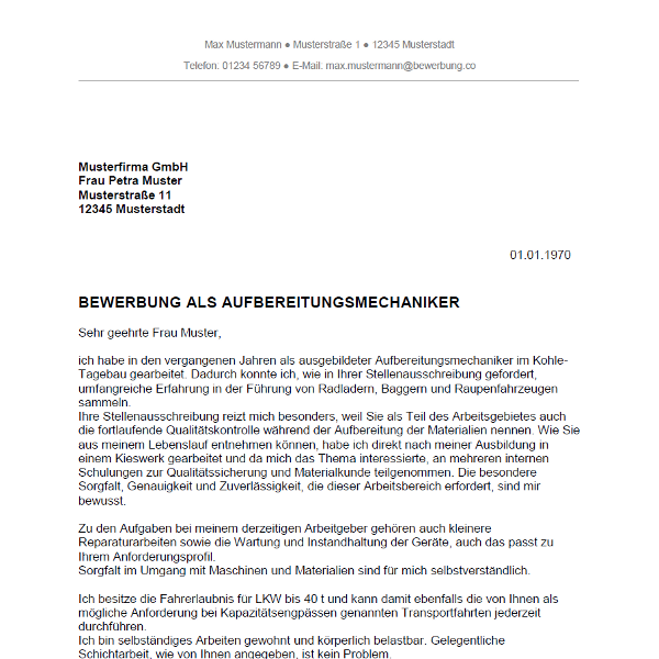 Muster / Vorlage: Bewerbung als Aufbereitungsmechaniker / Aufbereitungsmechanikerin