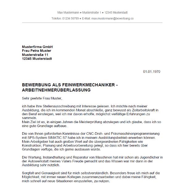 Muster / Vorlage: Bewerbung als Feinwerkmechaniker / Feinwerkmechanikerin