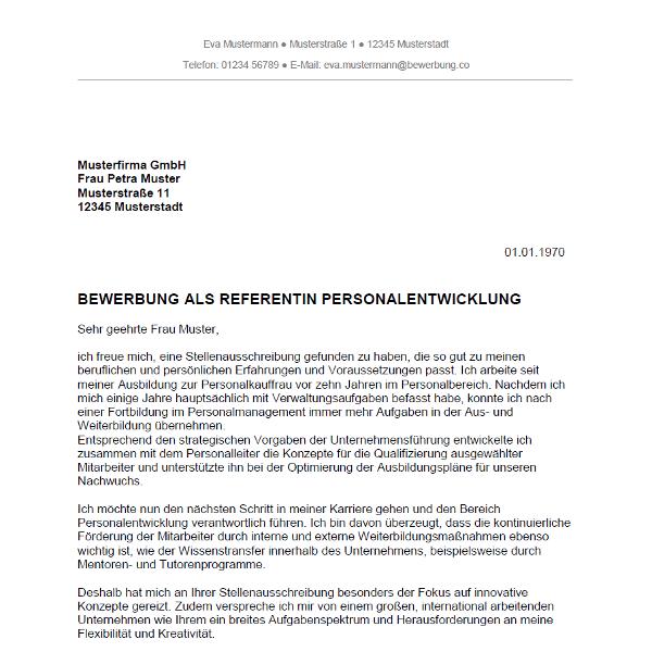 Bewerbung als Personalreferent / Personalreferentin   Bewerbung.co