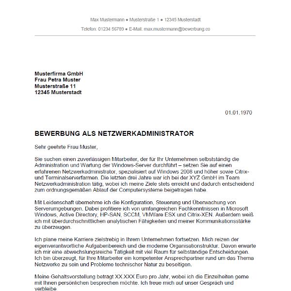 Muster / Vorlage: Bewerbung als Netzwerkadministrator / Netzwerkadministratorin