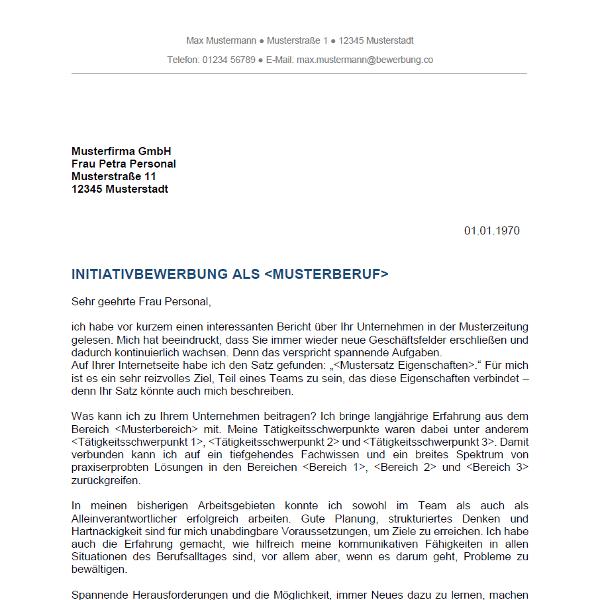 vorlage muster anschreiben 2 initiativbewerbung - Anschreiben Fr Initiativbewerbung