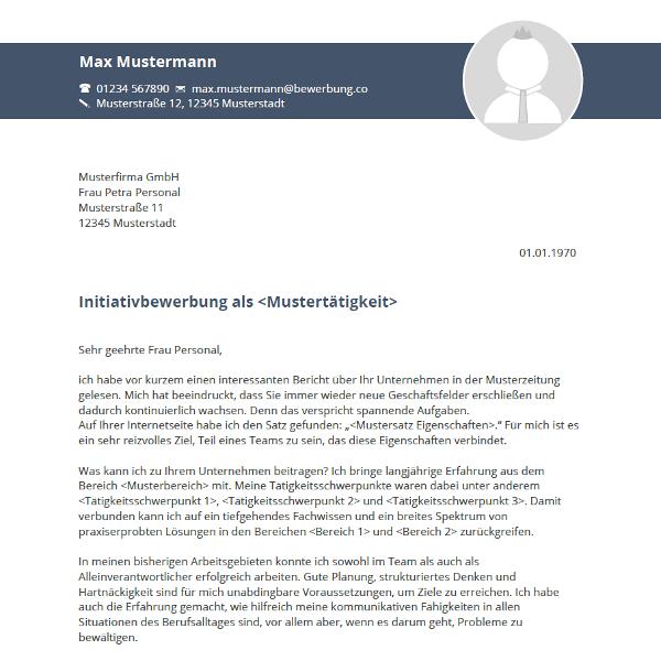 Vorlage / Muster: Anschreiben 2016 (Initiativbewerbung)