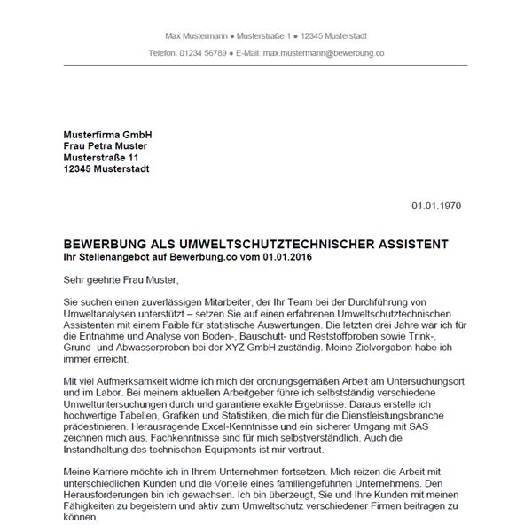 Muster / Vorlage: Bewerbung als Umweltschutztechnischer Assistent / Umweltschutztechnische Assistentin