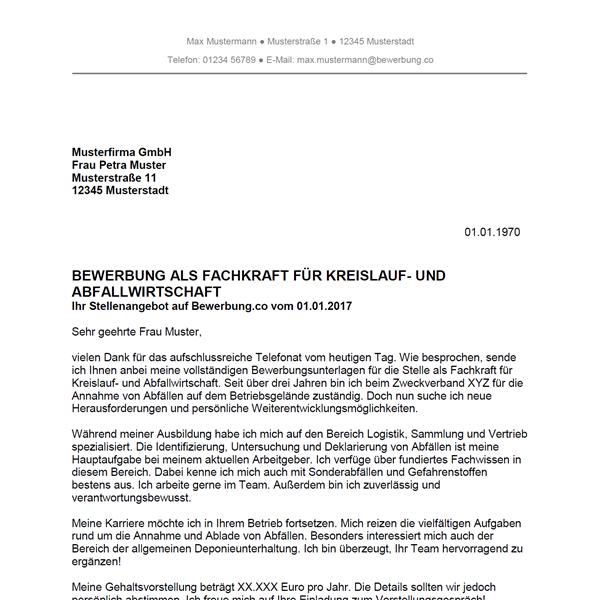 Muster / Vorlage: Bewerbung als Fachkraft für Kreislauf- und Abfallwirtschaft
