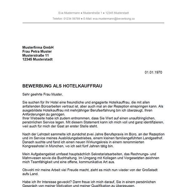 Muster / Vorlage: Bewerbung als Hotelkaufmann / Hotelkauffrau