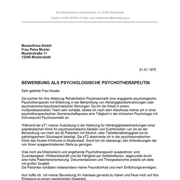 muster vorlage bewerbung als psychotherapeut psychotherapeutin - Abschluss Bewerbung