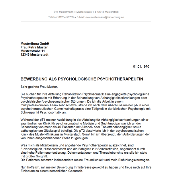 Muster / Vorlage: Bewerbung als Psychotherapeut / Psychotherapeutin