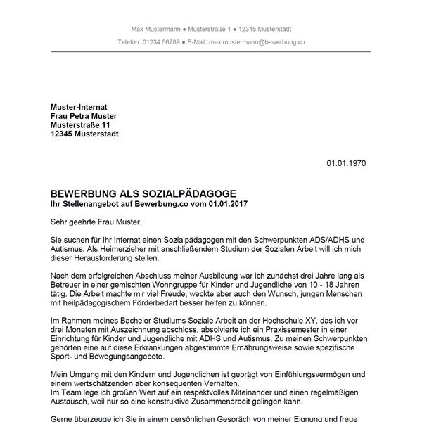 Muster / Vorlage: Bewerbung als Sozialpädagoge / Sozialpädagogin