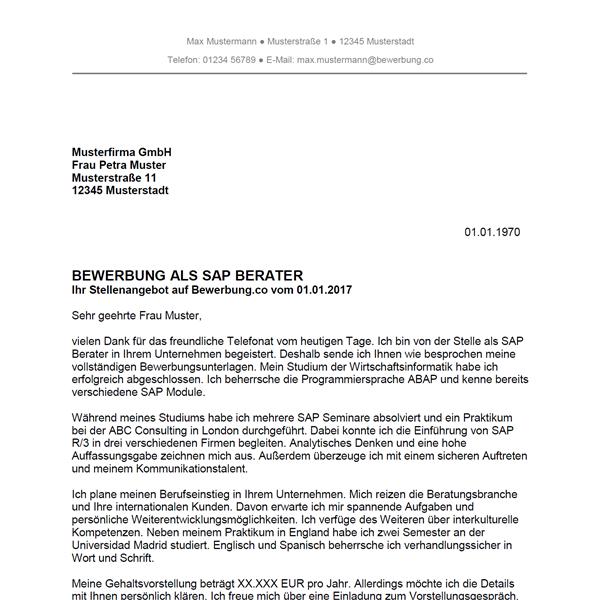 Muster / Vorlage: Bewerbung als SAP Berater / SAP Beraterin
