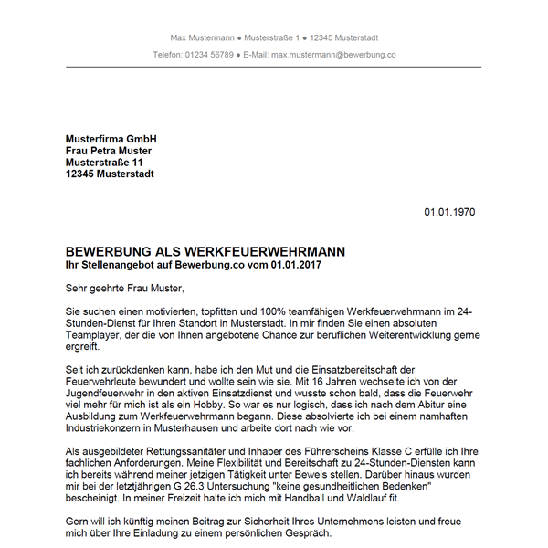 Muster / Vorlage: Bewerbung als Werkfeuerwehrmann / Werkfeuerwehrfrau