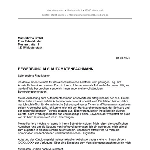 Muster / Vorlage: Bewerbung als Automatenfachmann / Automatenfachfrau