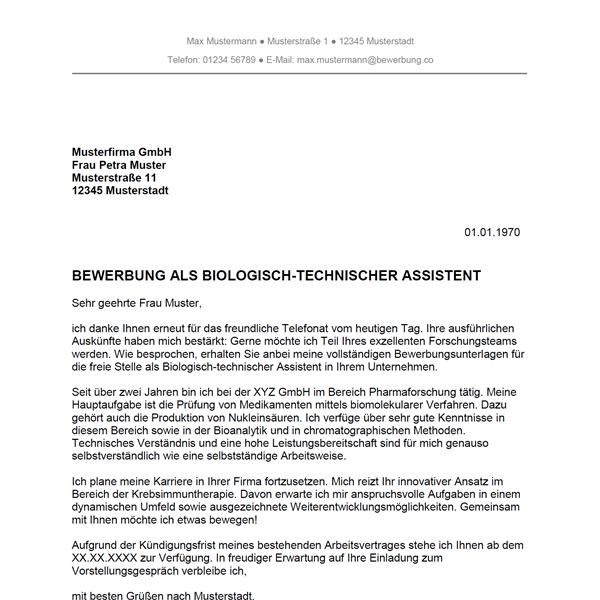 Bewerbung als Biologisch-technischer Assistent / Biologisch ...
