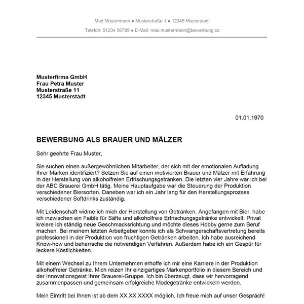 Muster / Vorlage: Bewerbung als Brauer und Mälzer / Brauerin und Mälzerin