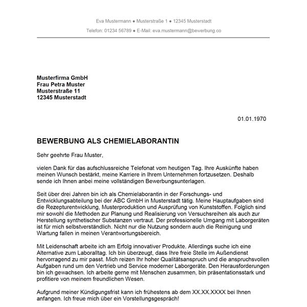 Bewerbung als Chemielaborant / Chemielaborantin   Bewerbung.co