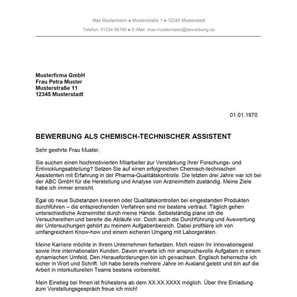 Muster / Vorlage: Bewerbung als Chemisch-technischer Assistent / Chemisch-technische Assistentin