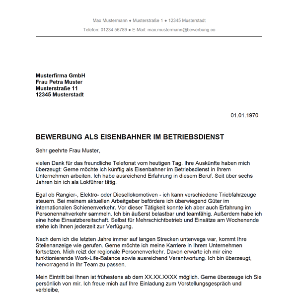 Muster / Vorlage: Bewerbung als Eisenbahner im Betriebsdienst / Eisenbahnerin im Betriebsdienst