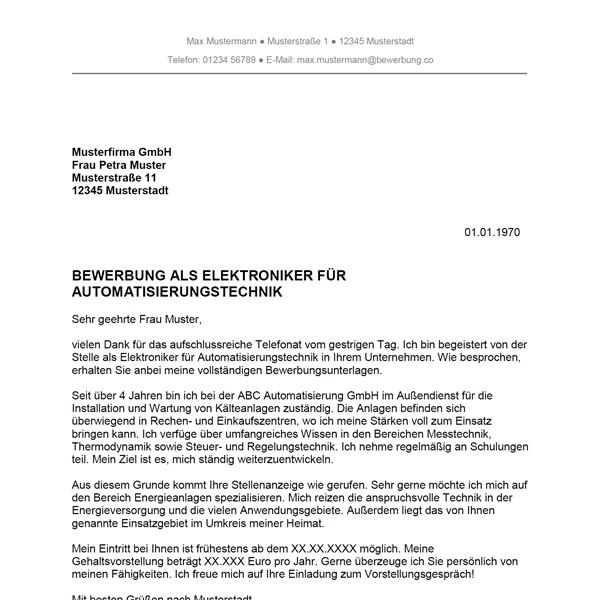 Muster / Vorlage: Bewerbung als Elektroniker für Automatisierungstechnik / Elektronikerin für Automatisierungstechnik