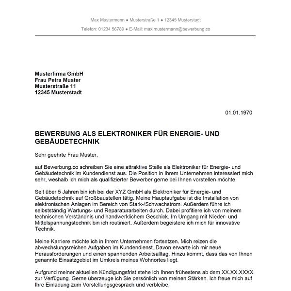 bewerbung als elektroniker für energie- und gebäudetechnik, Einladung