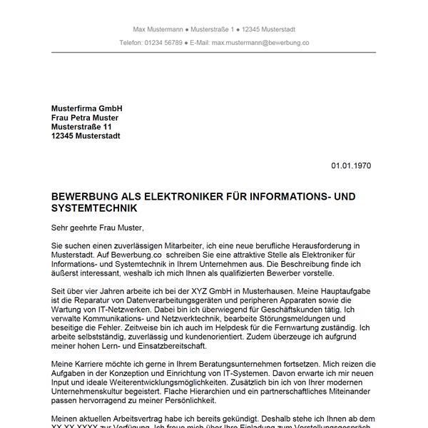 Muster / Vorlage: Bewerbung als Elektroniker für Informations- und Systemtechnik / Elektronikerin für Informations- und Systemtechnik