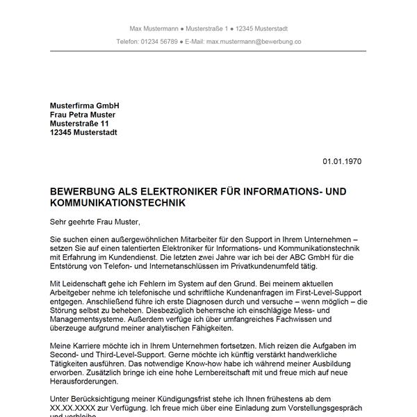 Muster / Vorlage: Bewerbung als Elektroniker für Informations und Telekommunikationstechnik / Elektronikerin für Informations und Telekommunikationstechnik