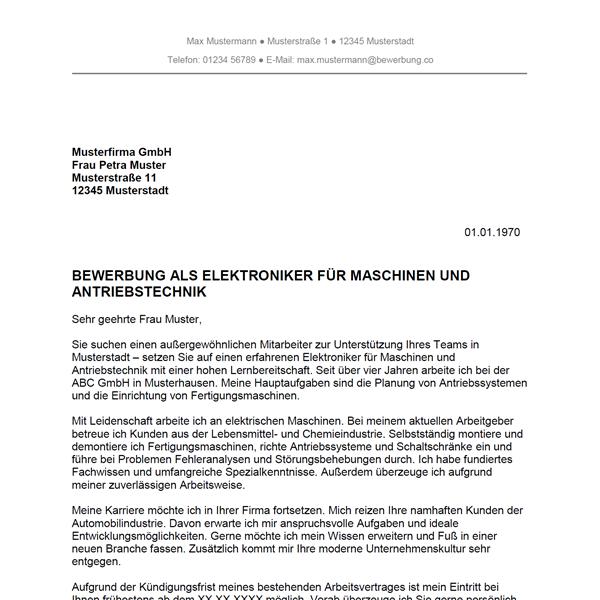 Muster / Vorlage: Bewerbung als Elektroniker für Maschinen- und Antriebstechnik / Elektronikerin für Maschinen- und Antriebstechnik