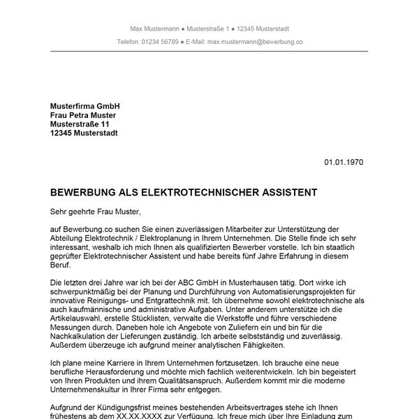 Muster / Vorlage: Bewerbung als Elektrotechnischer Assistent / Elektrotechnische Assistentin