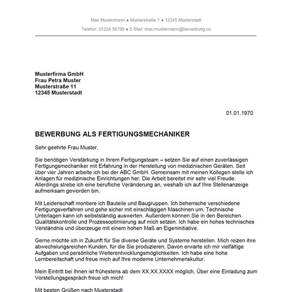 Muster / Vorlage: Bewerbung als Fertigungsmechaniker / Fertigungsmechanikerin