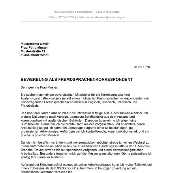 Muster / Vorlage: Bewerbung als Fremdsprachenkorrespondent / Fremdsprachenkorrespondentin